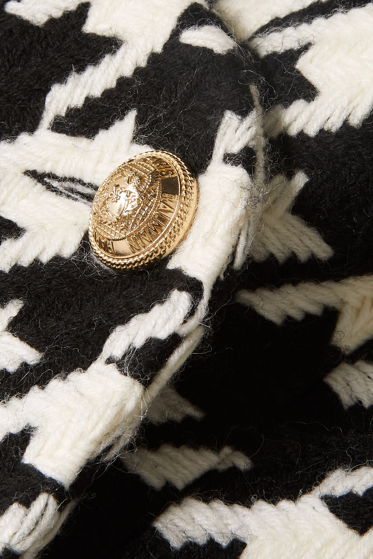 Balmain Hooded houndstooth wool-blend cape