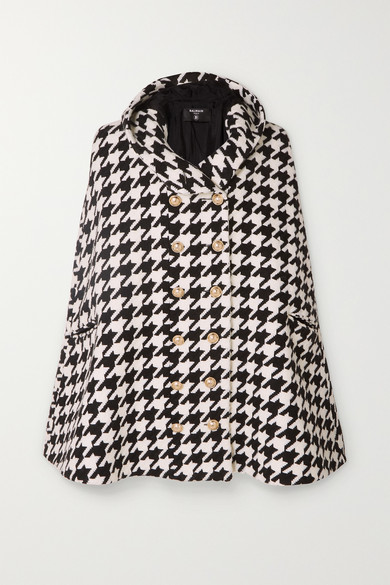 Hooded Houndstooth Wool Blend Cape by Balmain