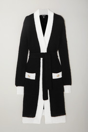 Balmain Belted two-tone ribbed-knit cardigan