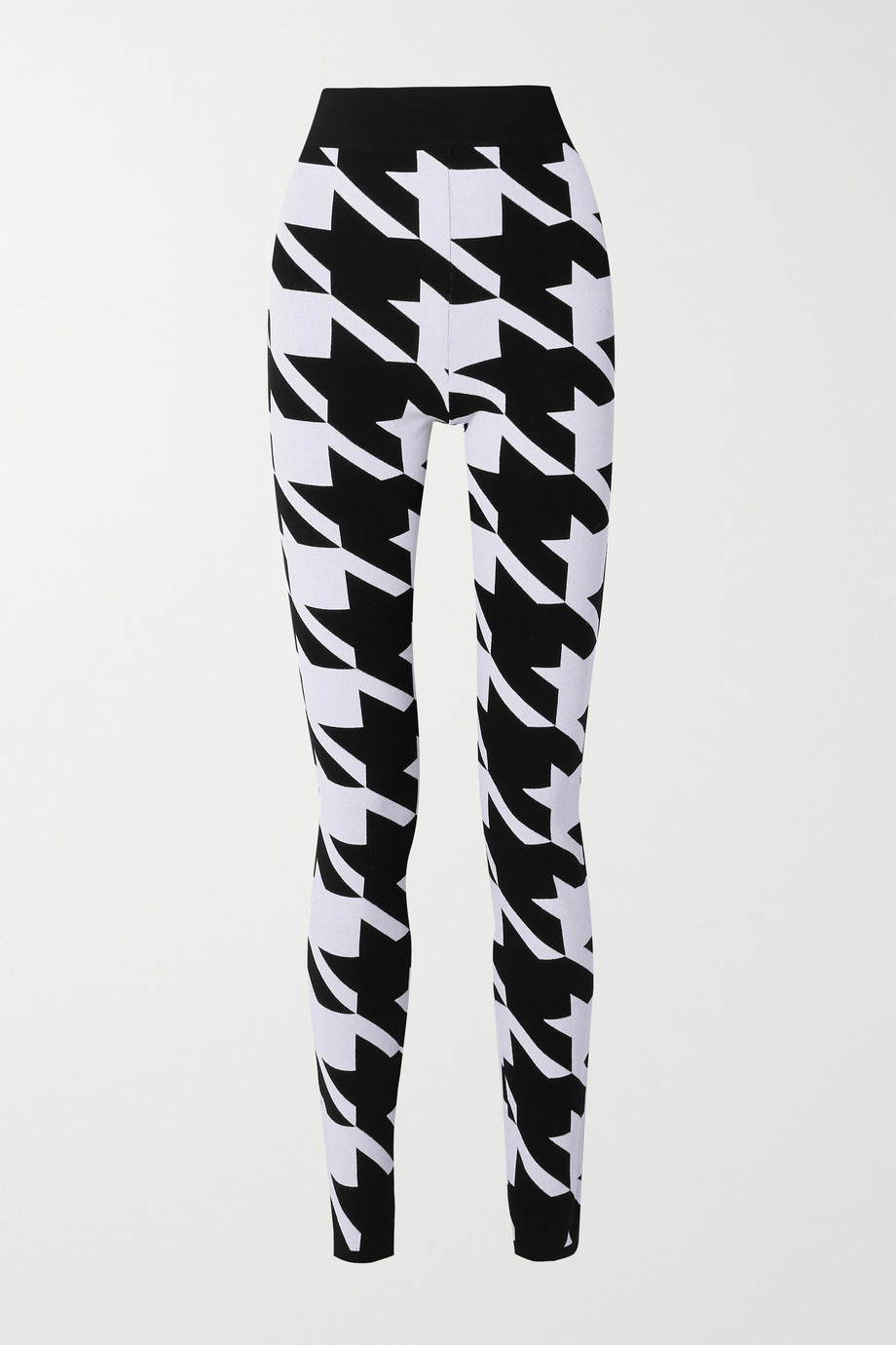 Balmain Houndstooth stretch-knit leggings