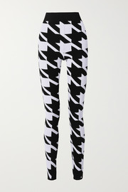Houndstooth stretch-knit leggings