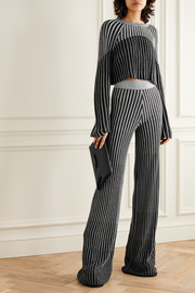 Balmain Metallic ribbed-knit flared pants