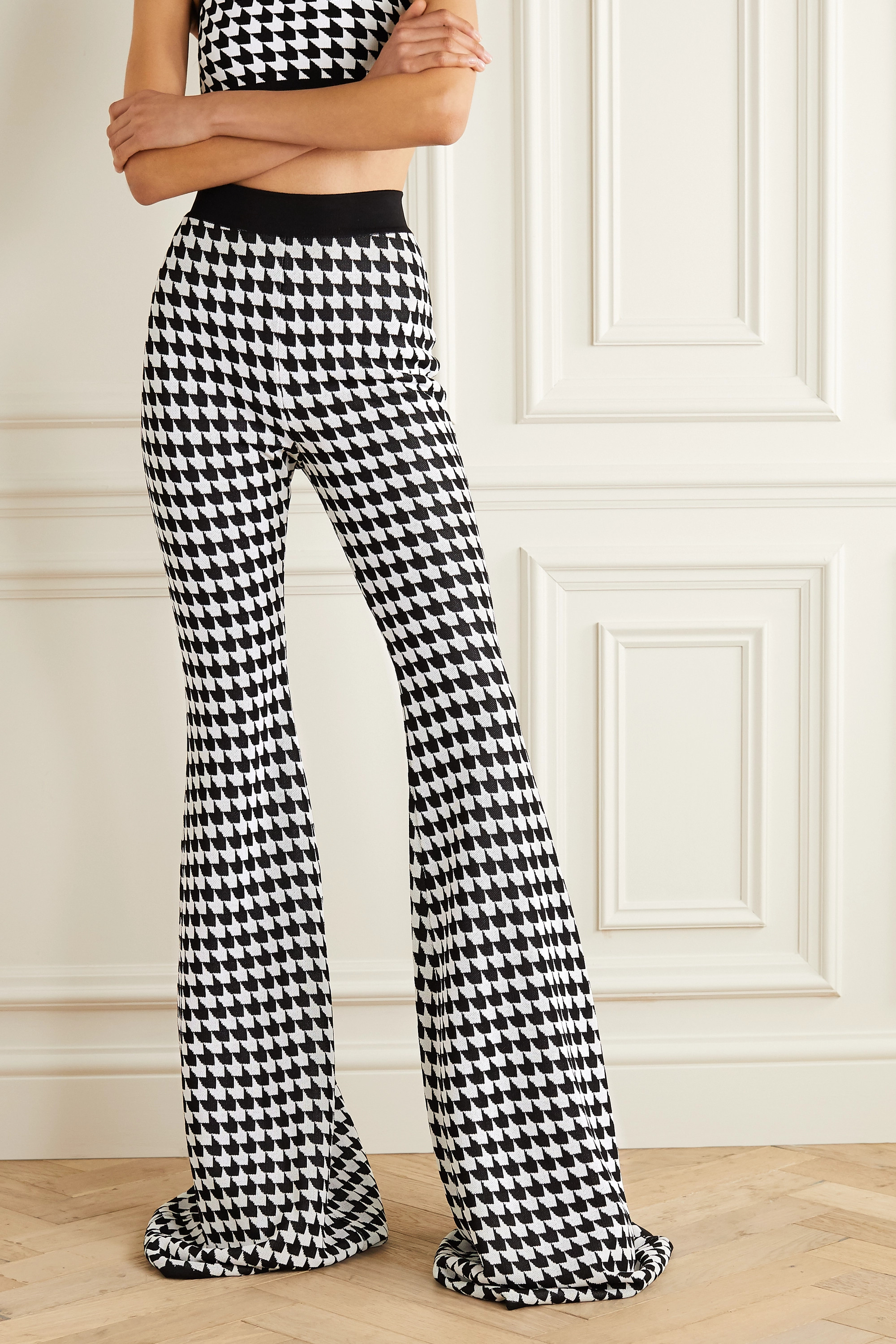 Balmain Houndstooth stretch-knit flared pants