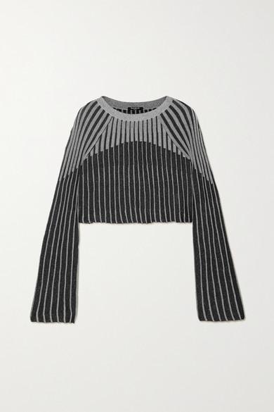 cropped-metallic-ribbed-knit-top by balmain