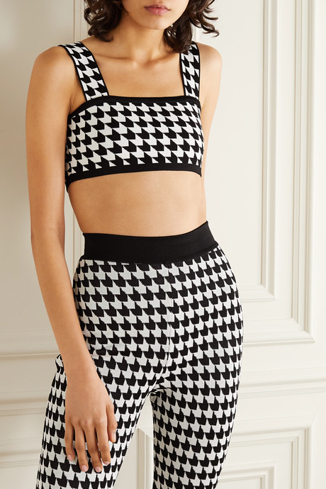 Cropped houndstooth stretch-knit top