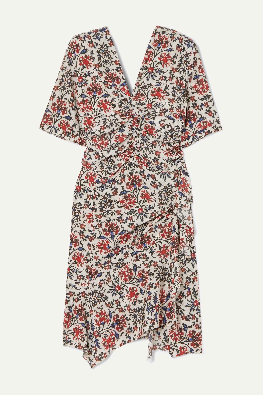 Isabel Marant Arodie gerafftes Kleid aus Crêpe aus einer Seidenmischung mit Blumenprint und Volant