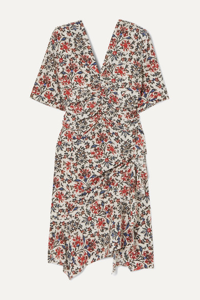 Isabel Marant Dress Arodie ruched floral-print silk-blend crepe dress