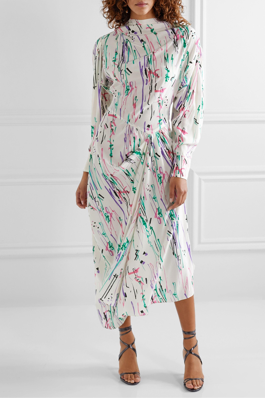 Isabel Marant Bernadette draped printed silk-blend crepe midi dress