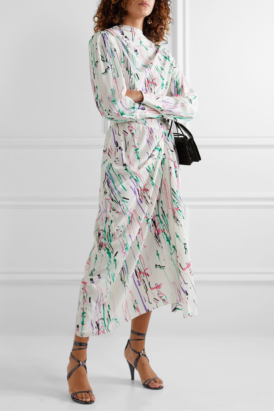 Isabel Marant Bernadette draped printed silk-blend crepe midi dress