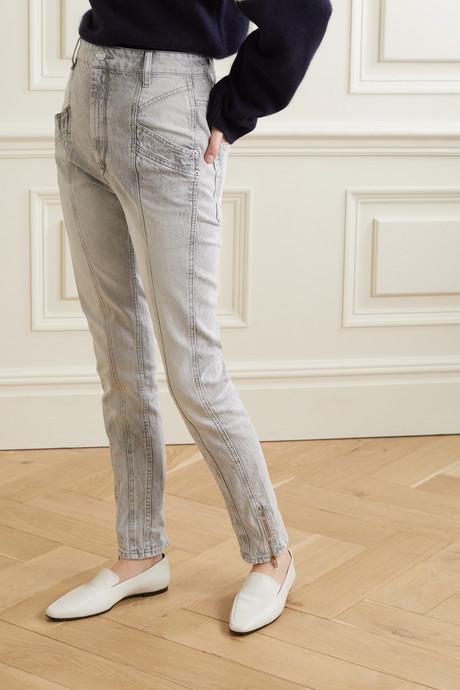 Kelissa paneled high-rise straight-leg jeans