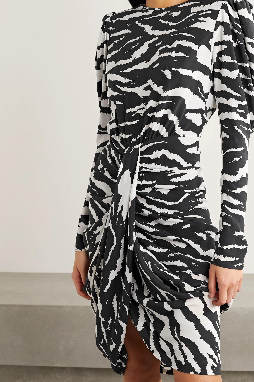 Isabel Marant Frea draped zebra-print silk-blend crepe de chine dress