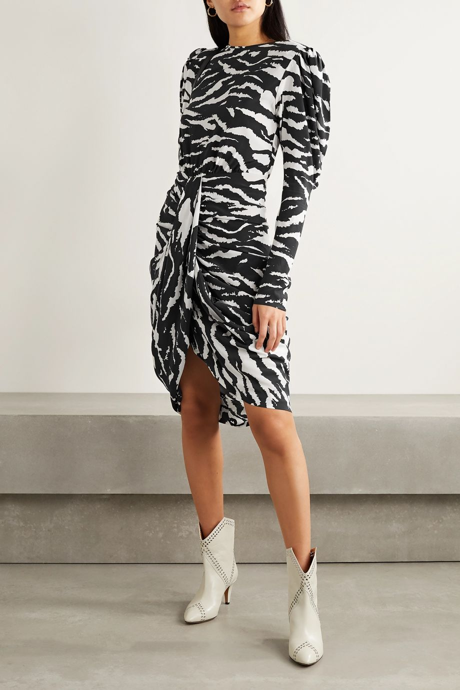 Isabel Marant Frea draped zebra-print silk-blend crepe de chine dress