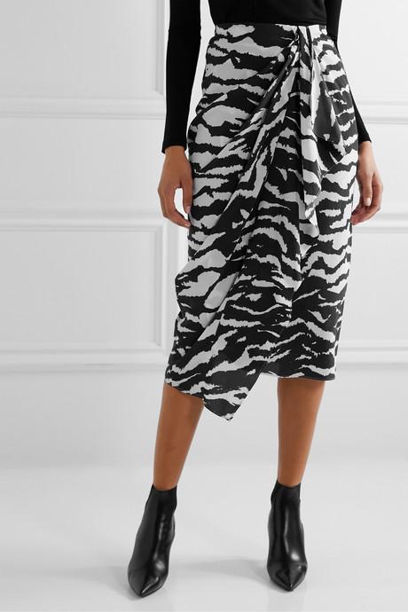 Fabiana wrap-effect draped zebra-print silk-blend crepe midi skirt
