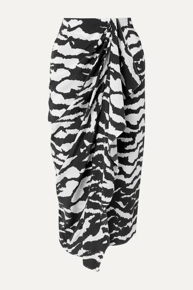 Isabel Marant Skirts Fabiana wrap-effect draped zebra-print silk-blend crepe midi skirt