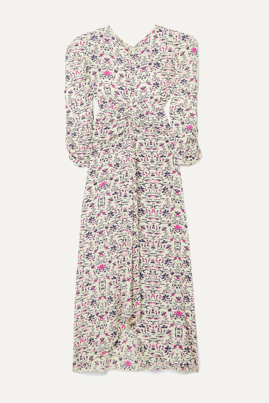 Isabel Marant Albi draped printed silk crepe de chine midi dress