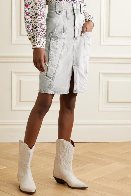 Kalosia pleated denim skirt