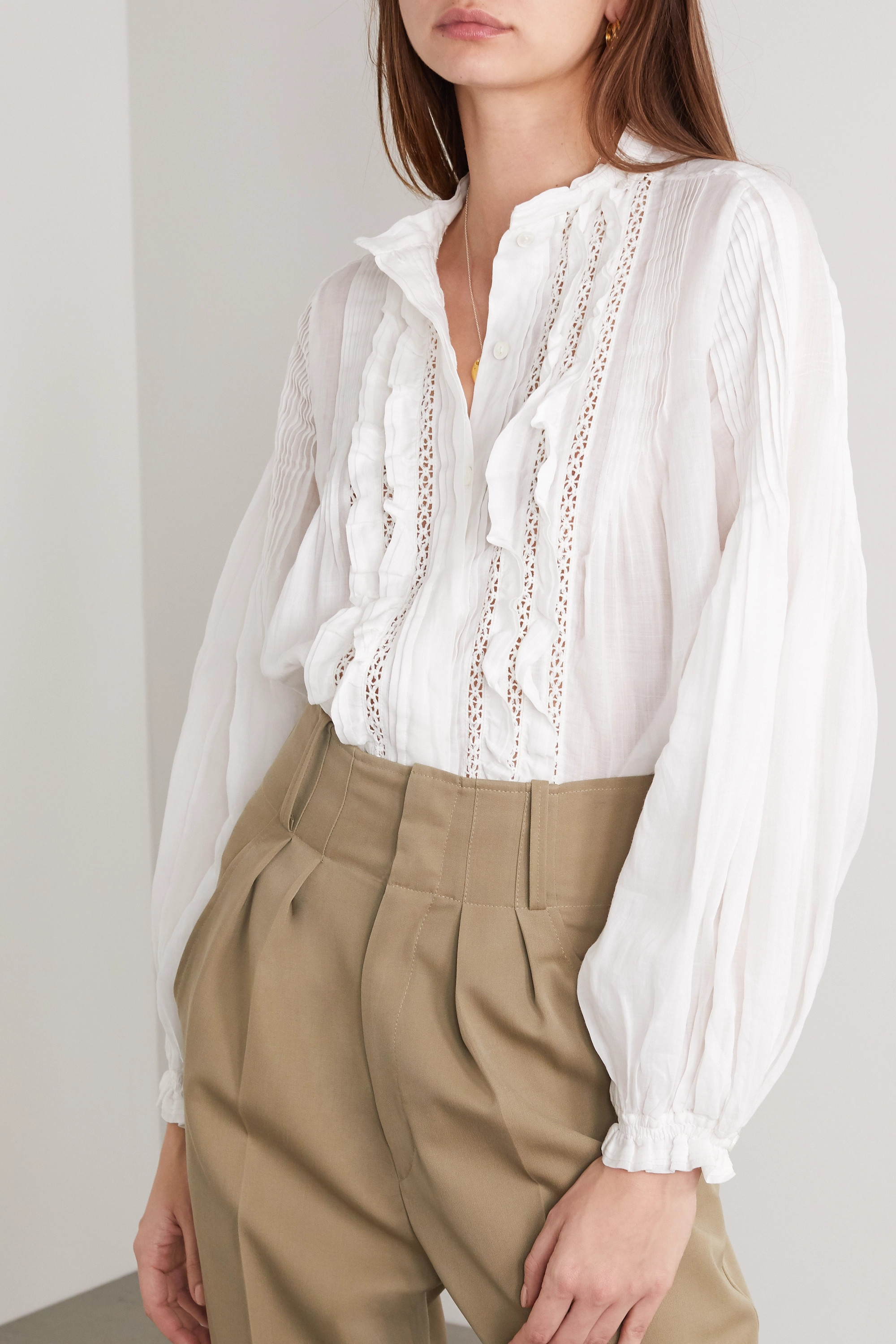 Isabel Marant Samaly crocheted lace-trimmed ruffled pintucked ramie blouse