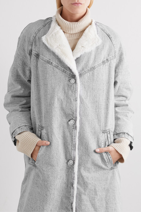 Kaleia oversized faux shearling-trimmed denim coat