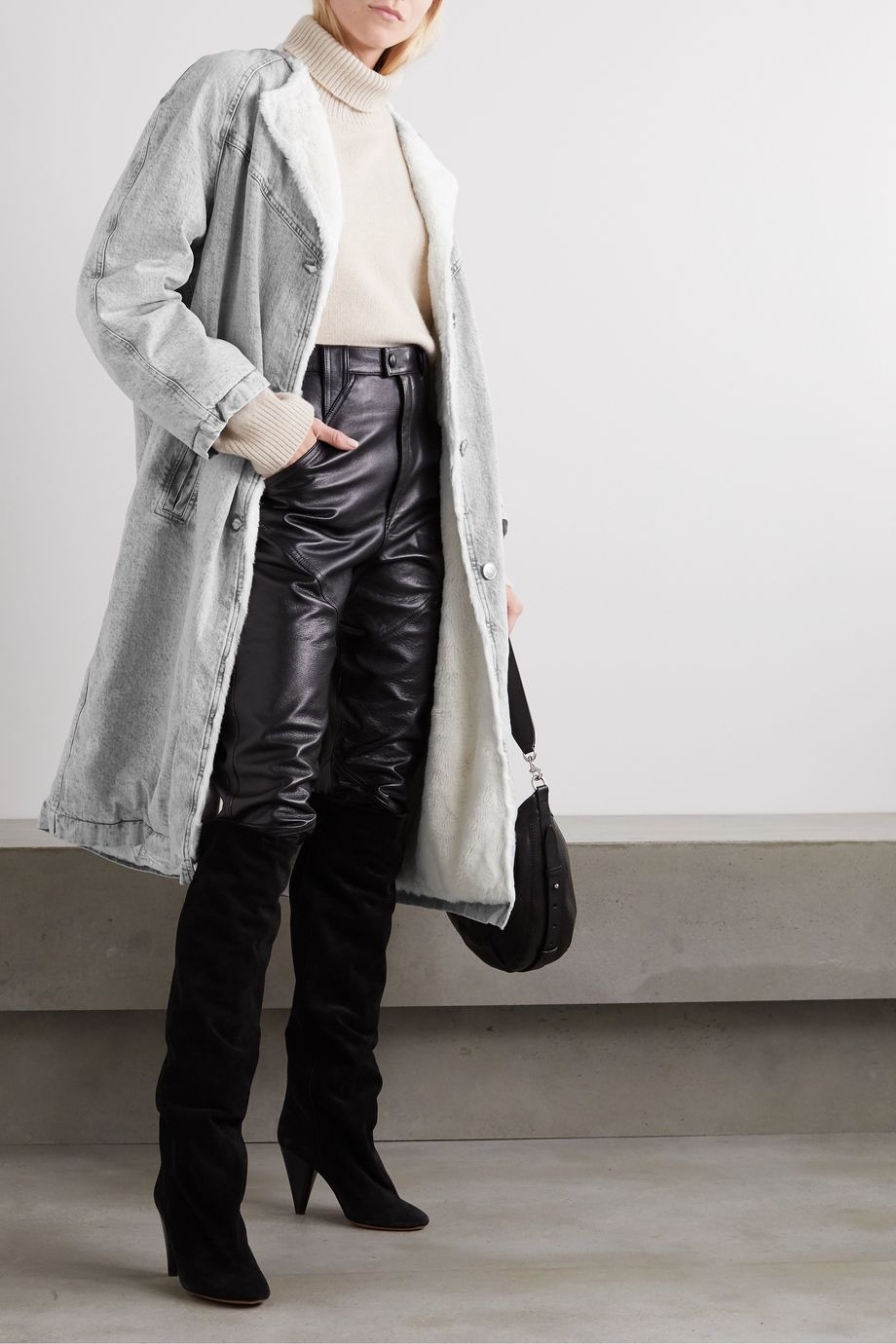 Isabel Marant Kaleia oversized faux shearling-trimmed denim coat