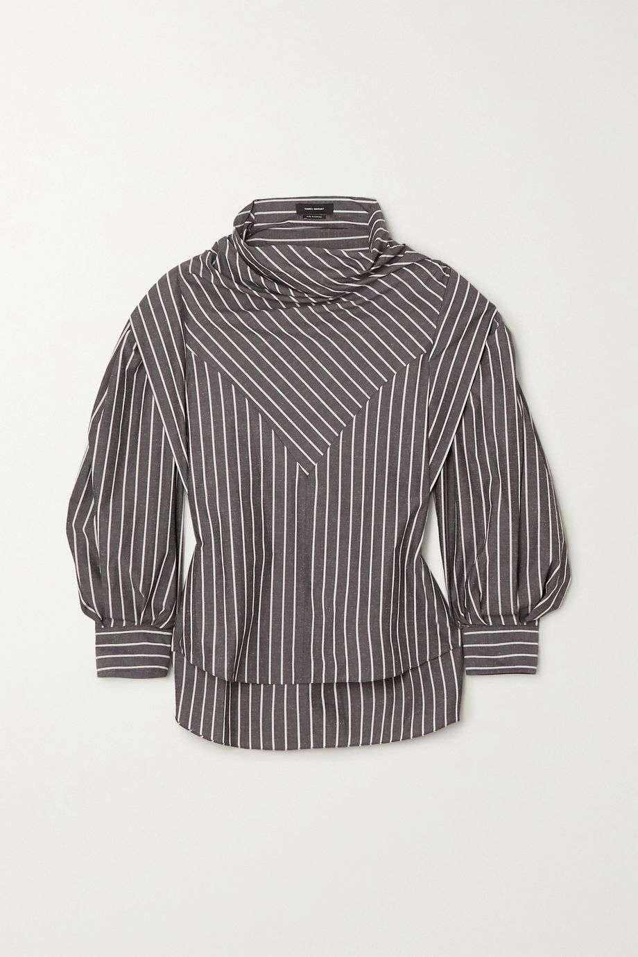 Isabel Marant Welly paneled striped cotton and silk-blend blouse