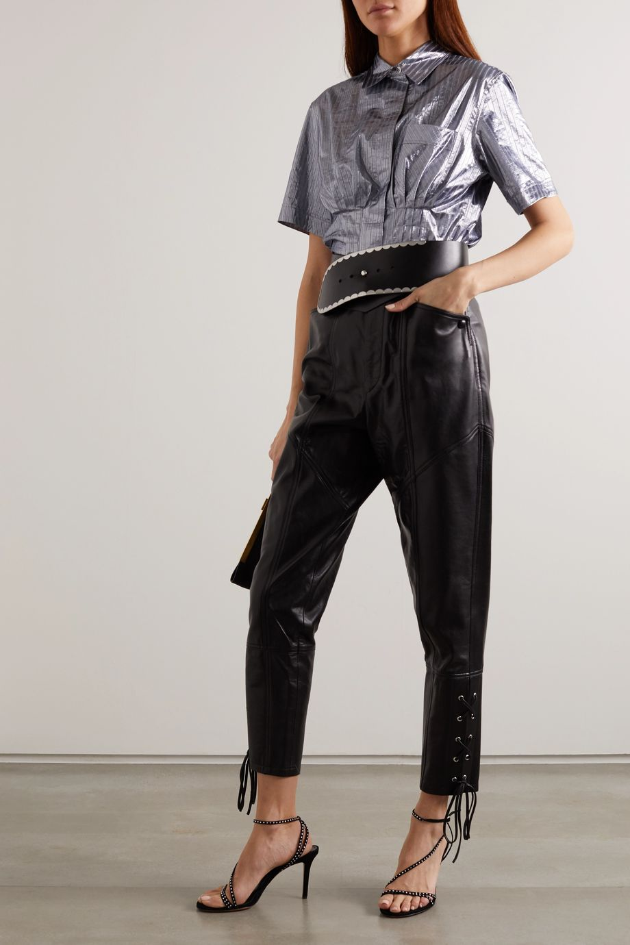 Isabel Marant Remy pleated pinstriped lamé shirt