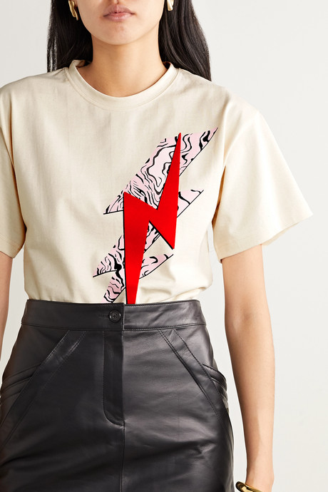 Yates flocked printed cotton-jersey T-shirt
