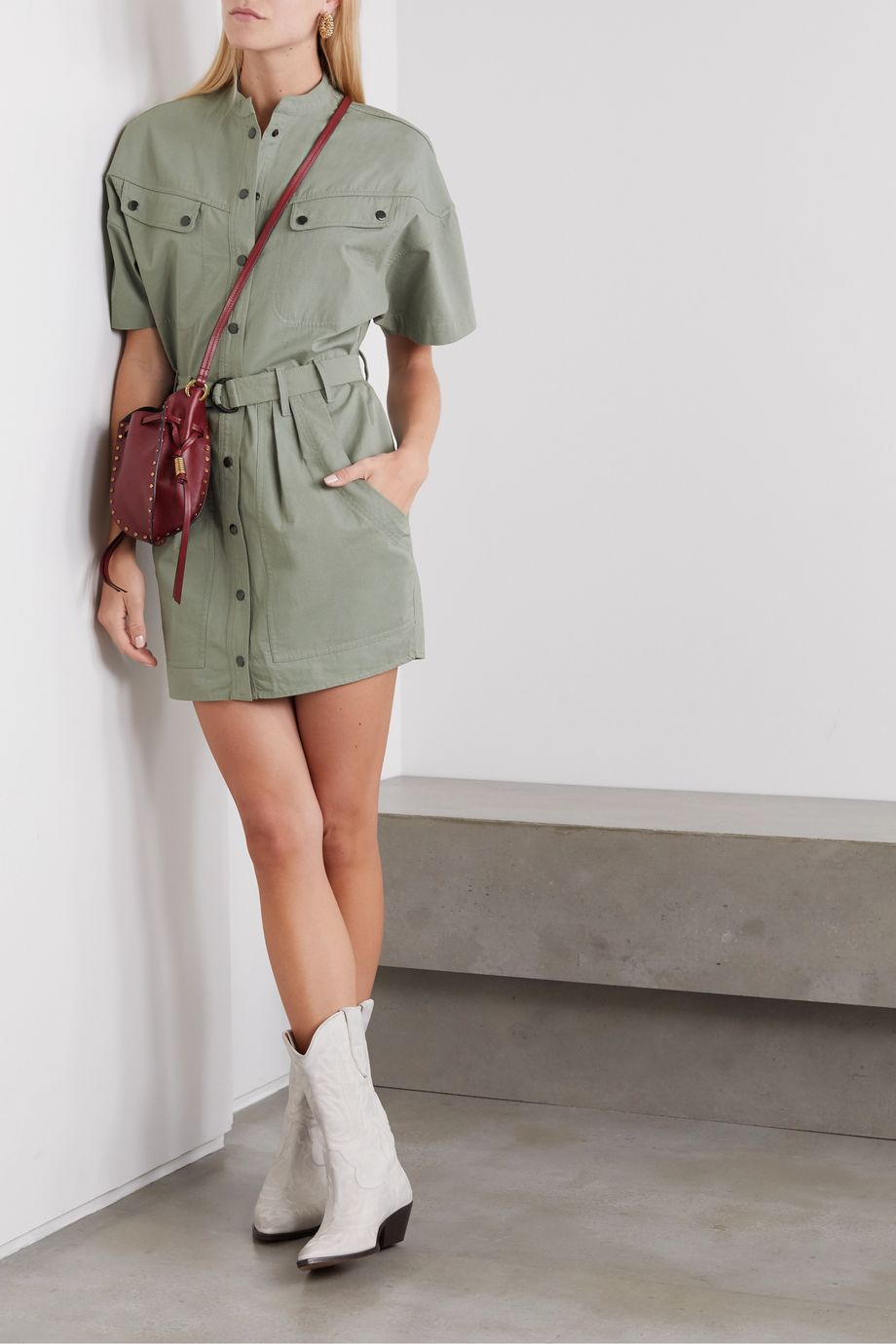 Isabel Marant Étoile Zolina belted cotton mini dress