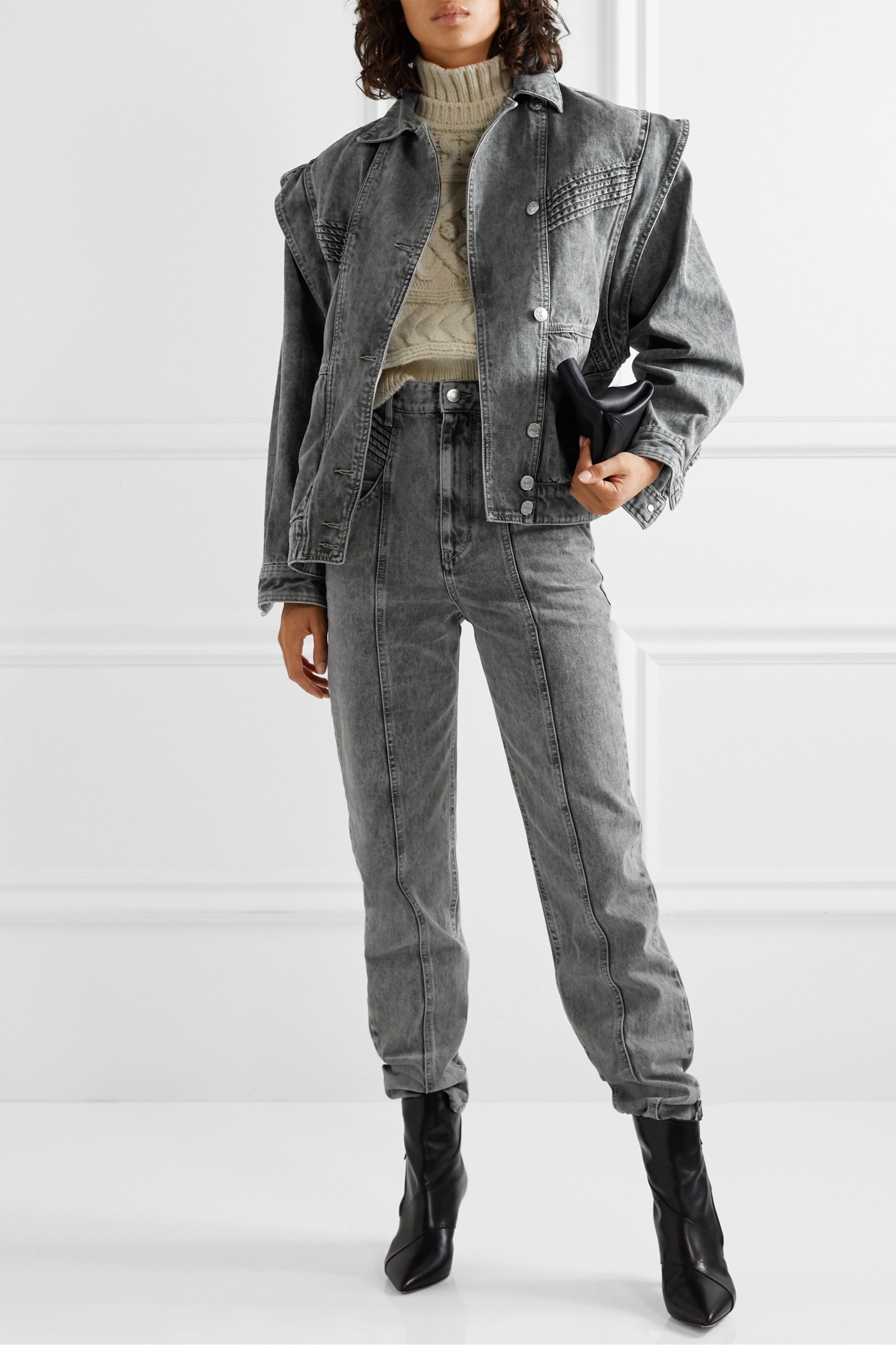 Isabel Marant Étoile Harmon oversized convertible acid-wash denim jacket