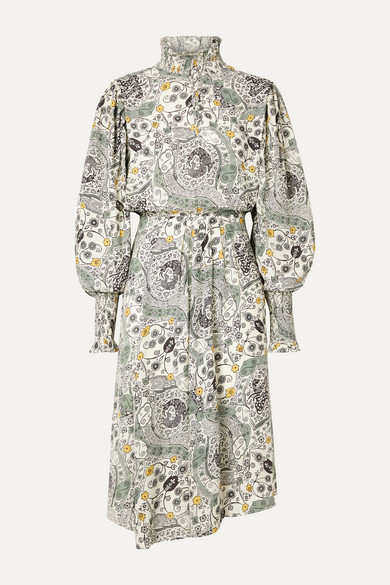 Cescott Ruffled Printed Crepe De Chine Midi Dress by Isabel Marant Étoile