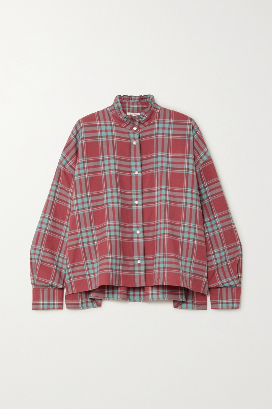 Isabel Marant Étoile Ilaria oversized ruffled checked cotton-flannel shirt