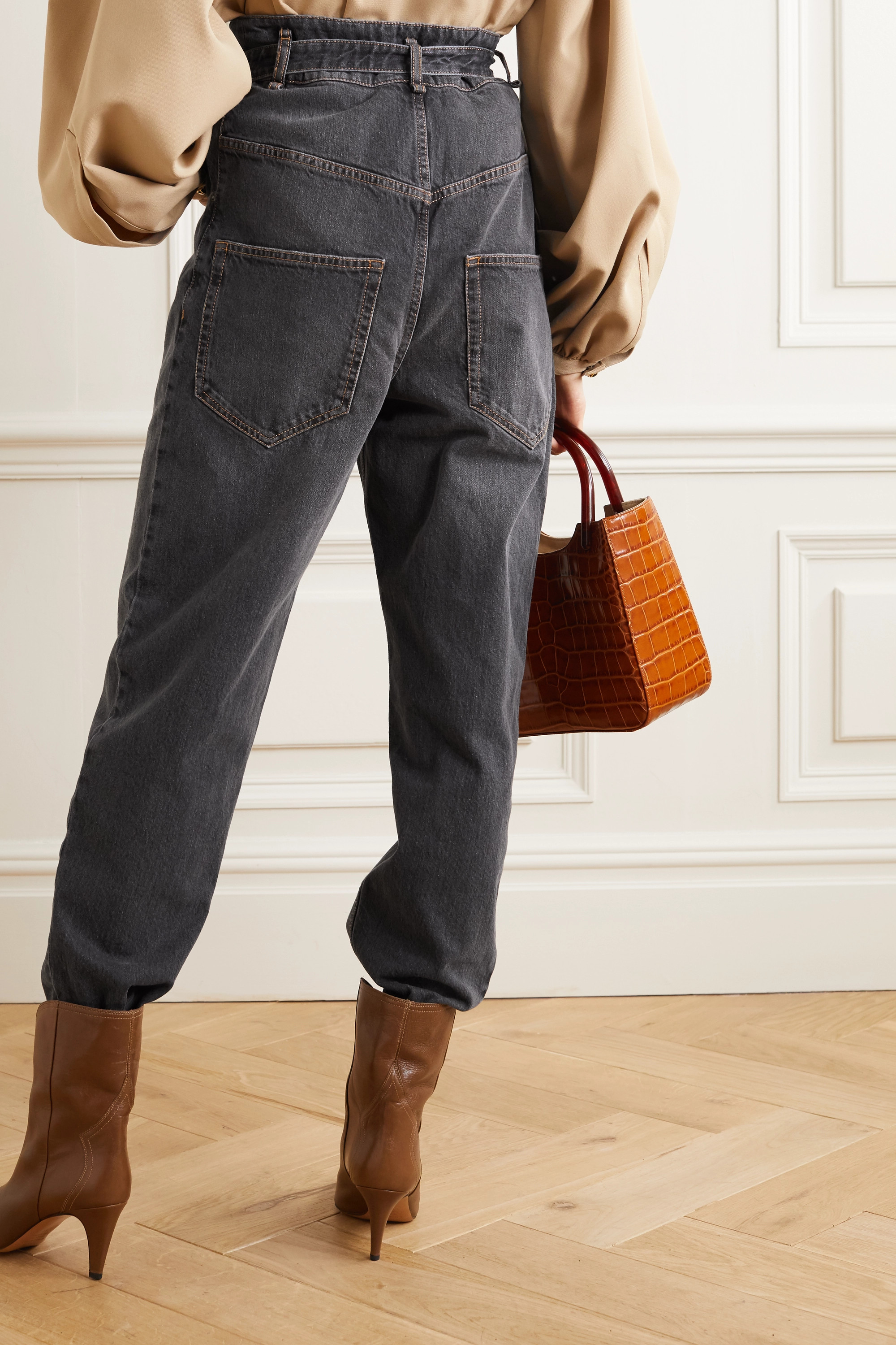 Isabel Marant Étoile Gloria belted high-rise tapered jeans