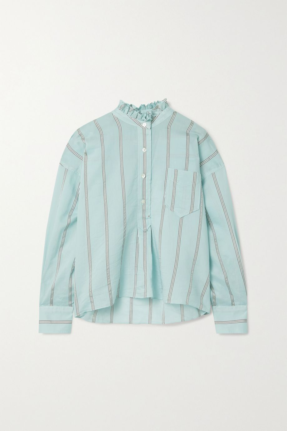 Isabel Marant Étoile Olena oversized ruffled striped cotton-blend voile shirt