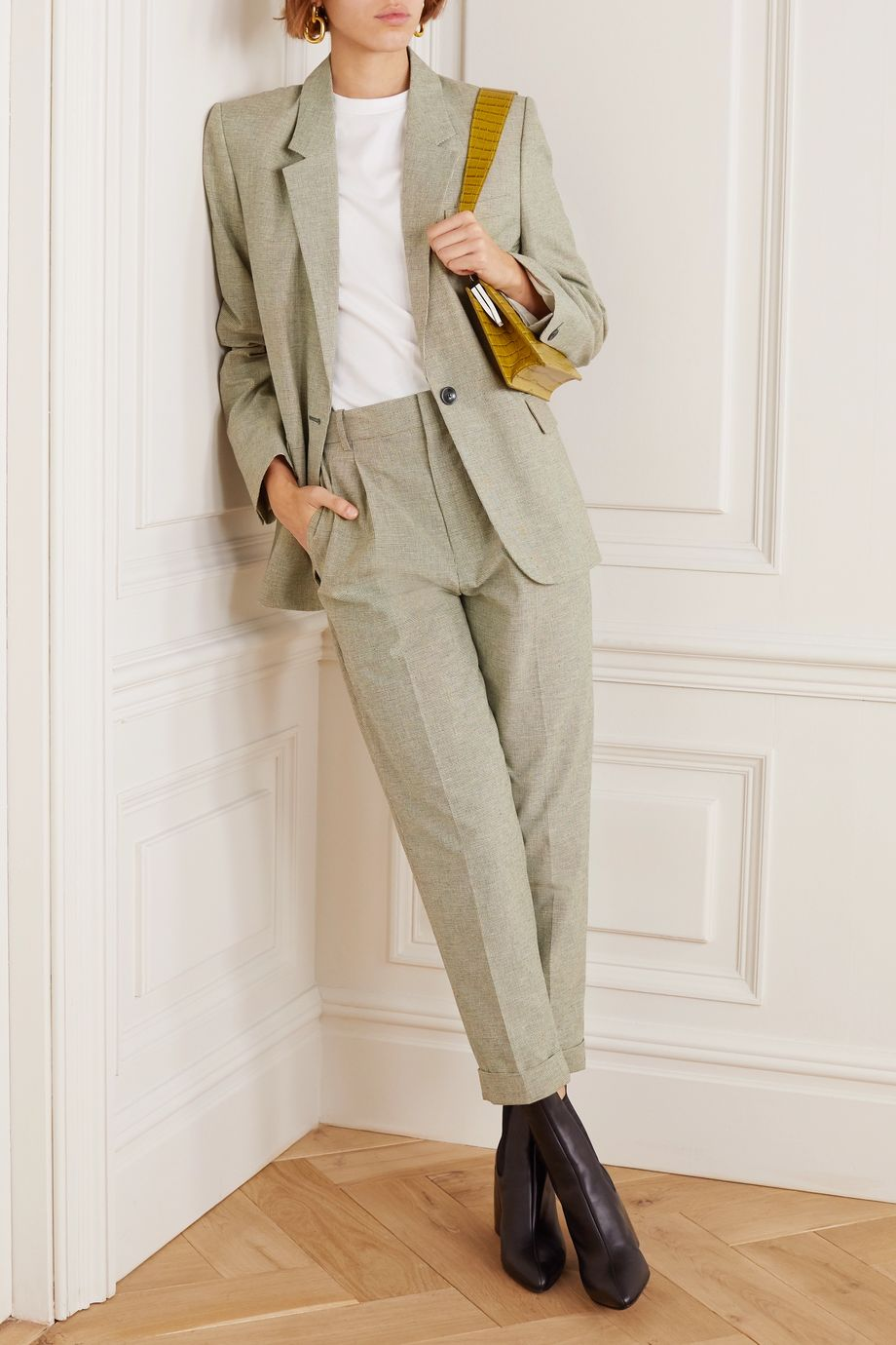 Isabel Marant Étoile Lowea checked cotton and linen-blend tapered pants