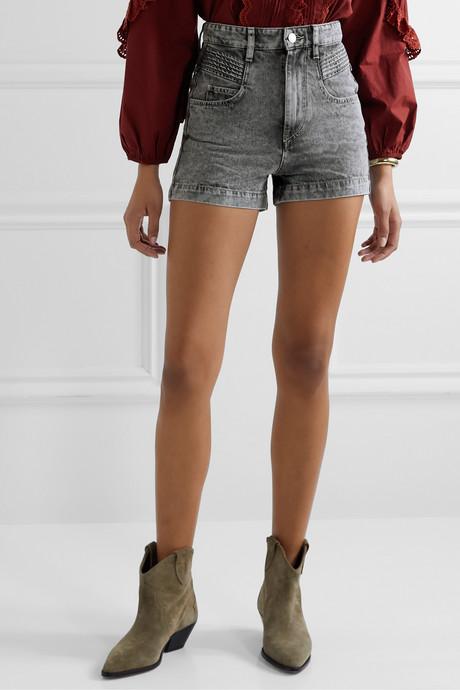 Hiana acid-wash denim shorts