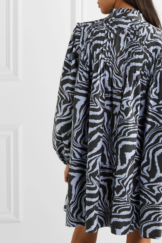 GANNI Pintucked tiger-print cotton-poplin mini dress