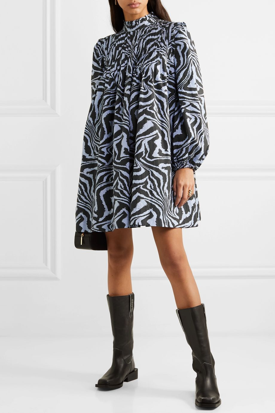 GANNI Pintucked tiger-print cotton-poplin mini dress