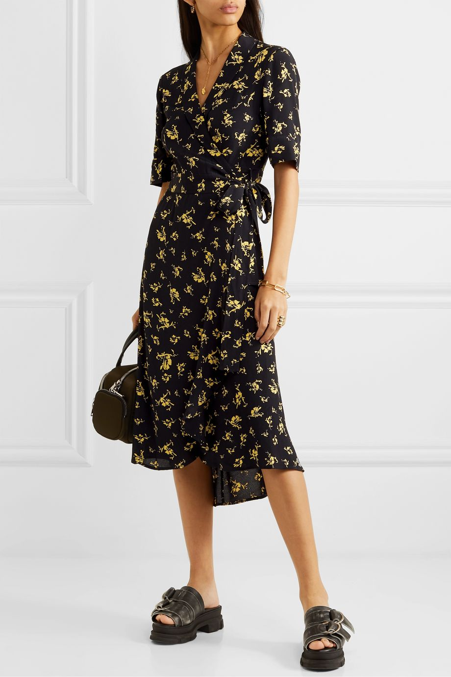 GANNI Floral-print crepe wrap dress