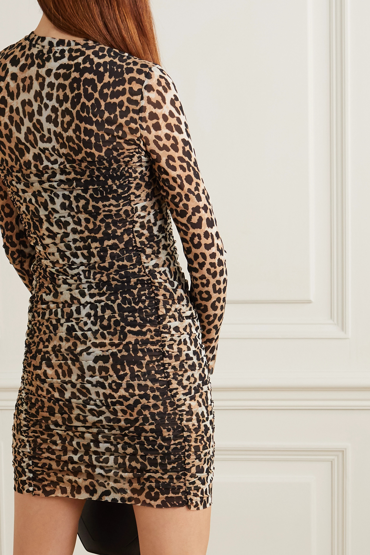 GANNI Ruched leopard-print stretch-mesh mini dress