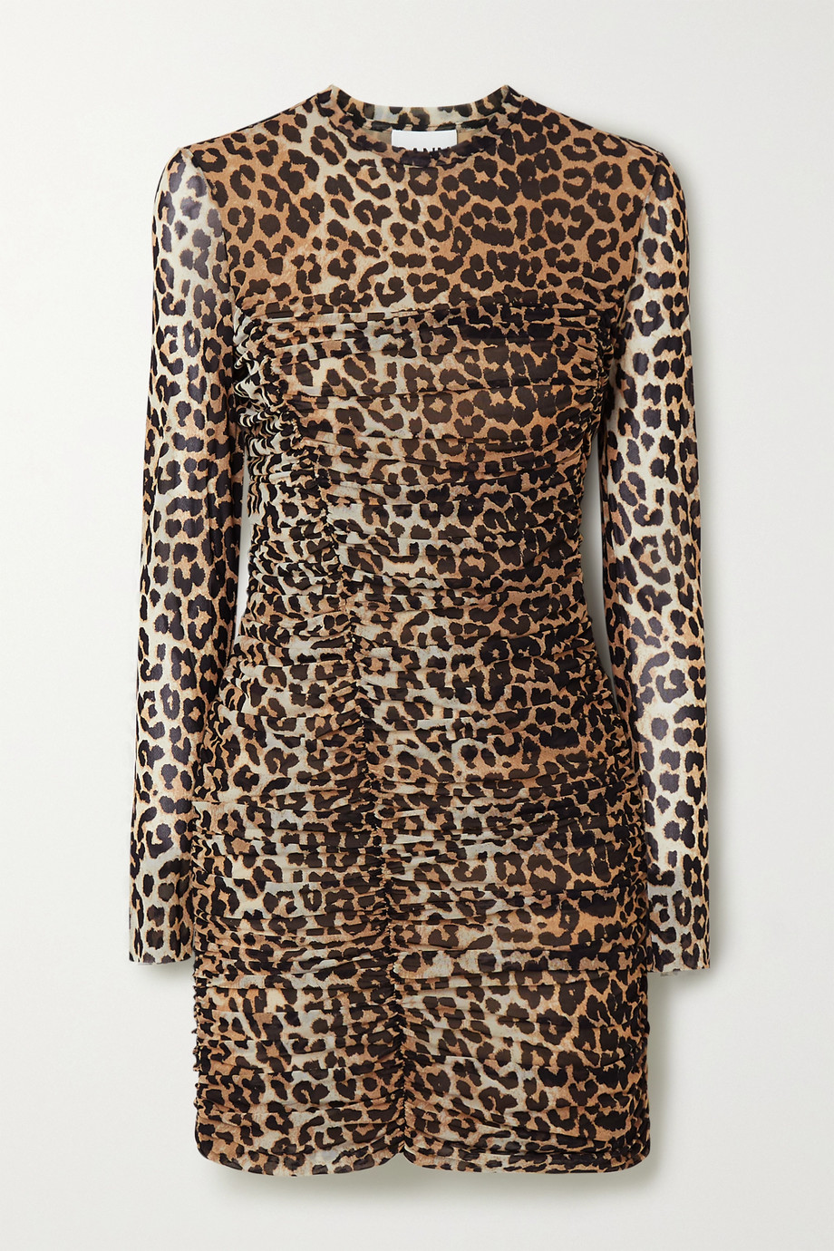 GANNI Ruched leopard-print stretch-mesh mini dress