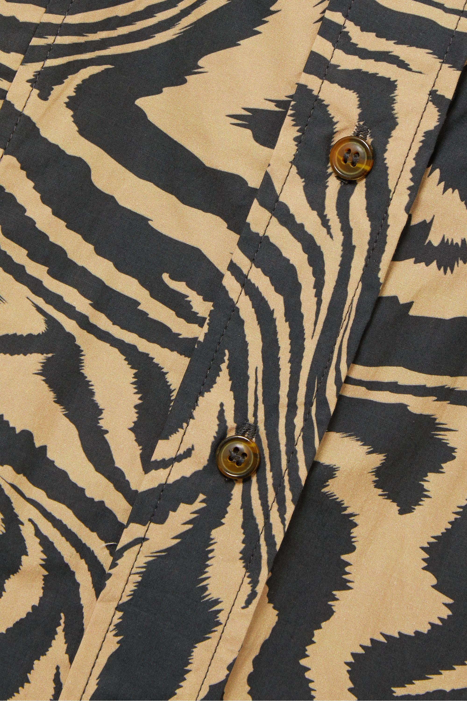 GANNI Tiger-print cotton-poplin mini dress