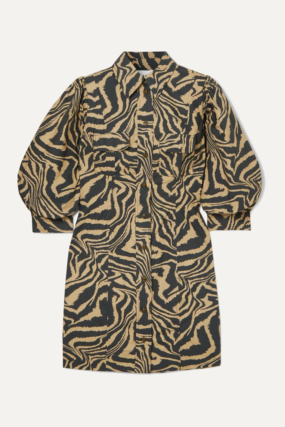 GANNI Tiger-print cotton-poplin mini dress