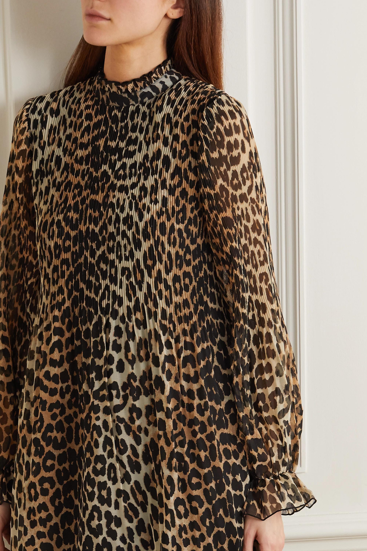 GANNI Midikleid aus Georgette mit Leopardenprint und Plisseefalten