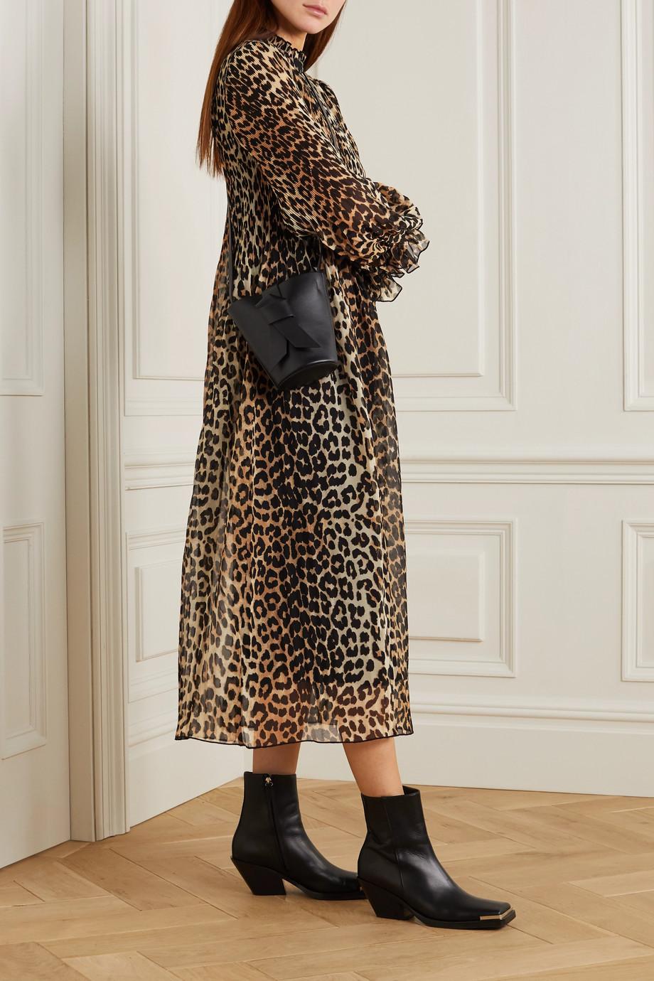 GANNI Leopard-print plissé-georgette midi dress