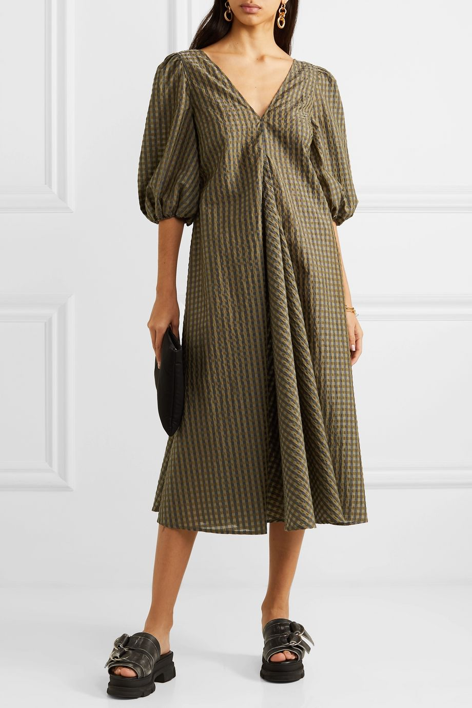 GANNI Metallic checked seersucker midi dress