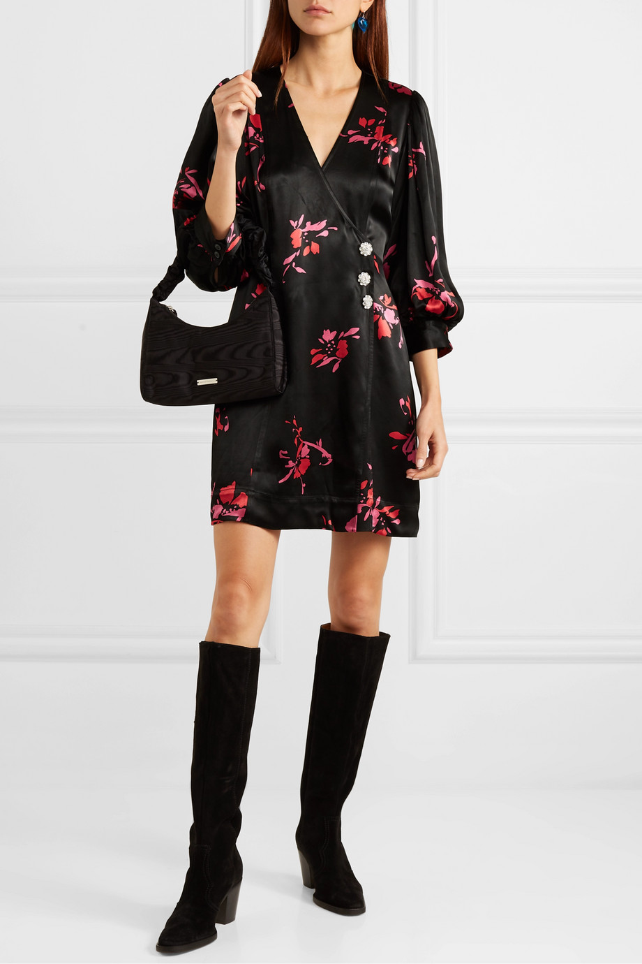 GANNI Crystal-embellished floral-print satin wrap mini dress