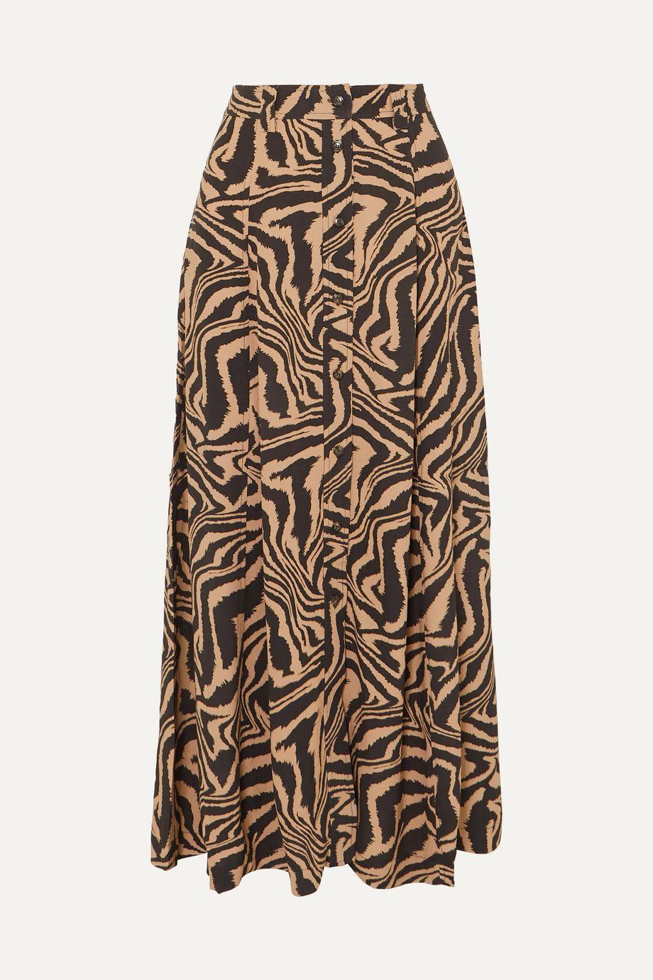 GANNI Tiger-print crepe midi skirt