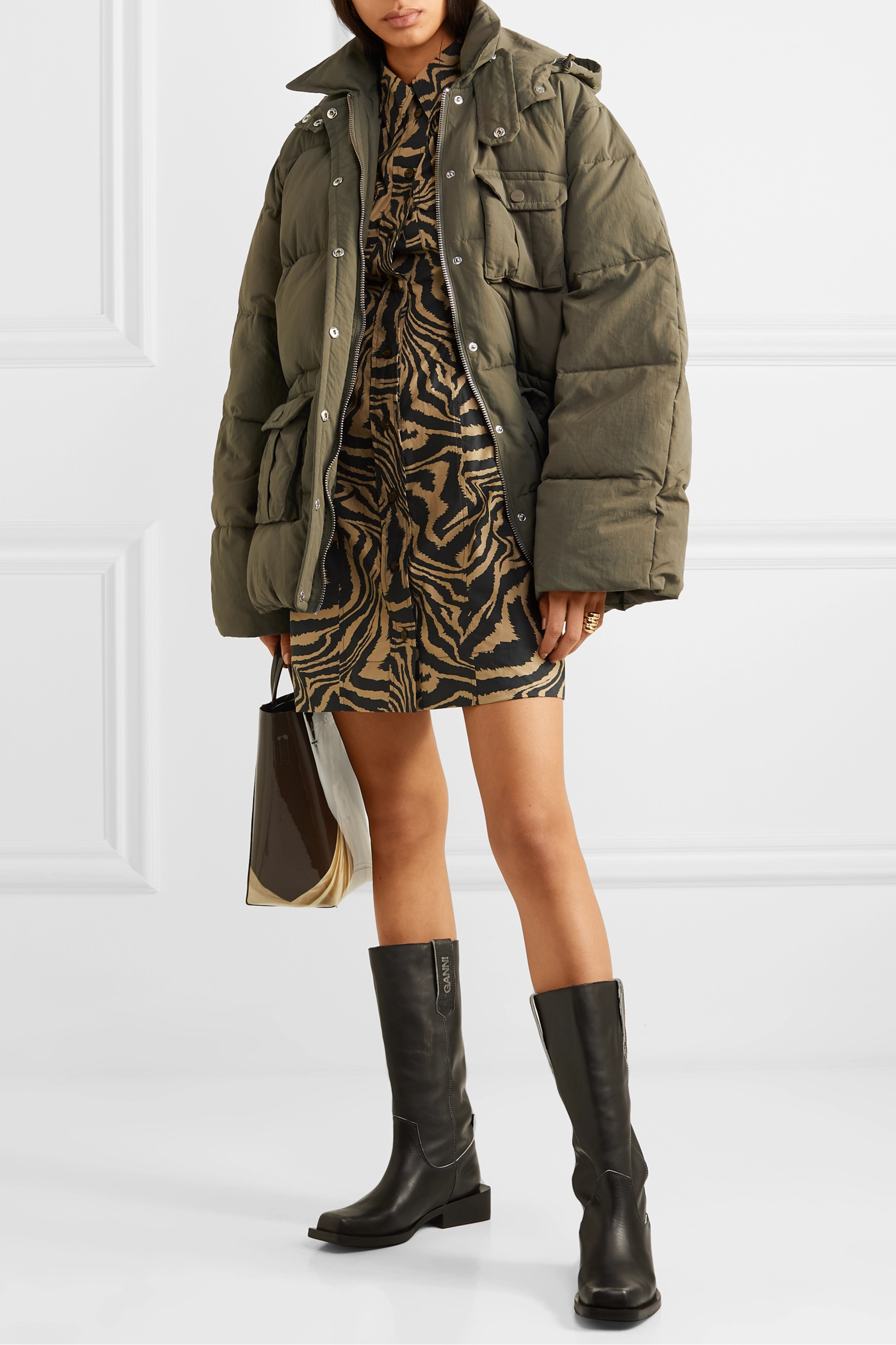 GANNI Oversized hooded quilted shell jacket