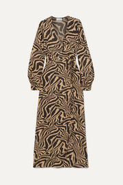 GANNI Tiger-print crepe wrap midi dress