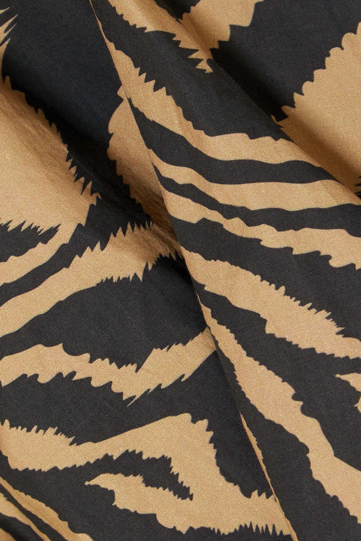 GANNI Wickelbluse aus Baumwollpopeline mit Tigerprint
