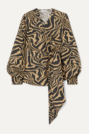 GANNI Tiger-print cotton-poplin wrap blouse